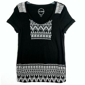 Lucky Brand Black Embroidered White Short Sleeve T